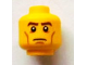 Part No: 3626bpb0920  Name: Minifigure, Head Brown Eyebrows, White Pupils, Cheek Lines, Frown Pattern - Blocked Open Stud