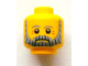 Part No: 3626bpb0922  Name: Minifigure, Head Beard Gray and Black, Gray Eyebrows and Red Eye Dimples Pattern - Blocked Open Stud