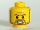 Part No: 3626bpb0925  Name: Minifigure, Head Beard Stubble, Brown Eyebrows and Mouth with Teeth Pattern - Blocked Open Stud
