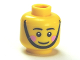 Part No: 3626bpb0934  Name: Minifigure, Head Black Eyebrows, Pink Cheeks, Chin Strap, White Pupils Pattern - Blocked Open Stud