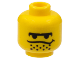 Part No: 3626bpx100  Name: Minifigure, Head Male Black Unibrow, Stubble under Dipping Mouth Line Pattern - Blocked Open Stud