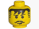 Part No: 3626bpx129  Name: Minifigure, Head Moustache Black Bangs, Striped Sideburns, Cleft Chin Pattern - Blocked Open Stud