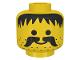 Part No: 3626bpx13  Name: Minifigure, Head Moustache, Stubble and Messy Hair Black Pattern - Blocked Open Stud