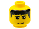 Part No: 3626bpx130  Name: Minifigure, Head Male Black Hair, Eyebrows, and Smirk Pattern - Blocked Open Stud