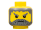 Part No: 3626bpx132  Name: Minifigure, Head Beard with Gray Hair, Moustache, and Angry Eyebrows Pattern - Blocked Open Stud