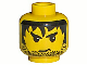Part No: 3626bpx133  Name: Minifigure, Head Male Stubble, Black Messy Hair, and Angry Eyebrows Pattern - Blocked Open Stud