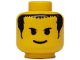 Part No: 3626bpx16  Name: Minifigure, Head Male Smile, Black Eyebrows, Short Bangs and Long Hair Pattern - Blocked Open Stud