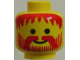 Part No: 3626bpx22  Name: Minifigure, Head Beard Vertical Lines with Messy Hair, Moustache Red Pattern - Blocked Open Stud
