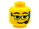 Part No: 3626bpx24  Name: Minifigure, Head Glasses with Blue Glasses and Headset Pattern - Blocked Open Stud