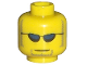 Part No: 3626bpx299  Name: Minifigure, Head Glasses with Dark Blue Sunglasses, Closed Mouth, Light Brown Sideburns and Goatee Pattern - Blocked Open Stud