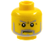 Part No: 3626bpx304  Name: Minifigure, Head Beard Gray with Gray Eyebrows, Sideburns and Crow's Feet Wrinkles Pattern - Blocked Open Stud