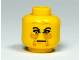 Part No: 3626bpx34  Name: Minifigure, Head Male Angry Black Eyebrows, Brown Wrinkles Pattern - Blocked Open Stud