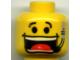 Part No: 3626bpx53  Name: Minifigure, Head Male Huge Grin, Headset, Eyebrows Pattern (Flex) - Blocked Open Stud