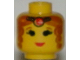 Part No: 3626bpx67  Name: Minifigure, Head Female with Brown Curly Hair and Tiara, Eyelashes and Red Lips Pattern - Blocked Open Stud