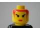 Part No: 3626bpx69  Name: Minifigure, Head Female with Red Lips and Red Hair, Angry Black Eyebrows Pattern - Blocked Open Stud