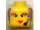 Part No: 3626bpx86  Name: Minifigure, Head Female with Red Lips, Purple Hair and Headset Pattern - Blocked Open Stud