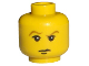 Part No: 3626bpx95  Name: Minifigure, Head Male HP Draco with Brown Eyebrows, White Pupils, Closed Mouth Pattern - Blocked Open Stud