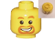 Part No: 3626cpb0023  Name: Minifigure, Head Beard around Mouth, White Smile, White Pupils Pattern - Hollow Stud