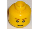 Part No: 3626cpb0121  Name: Minifigure, Head Brown Eyebrows, Thin Grin, Black Eyes with White Pupils Pattern - Hollow Stud