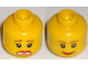 Part No: 3626cpb0271  Name: Minifigure, Head Dual Sided Female Brown Eyebrows, Scared / Smile Pattern - Hollow Stud