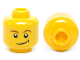 Part No: 3626cpb0278  Name: Minifigure, Head Brown Eyebrows, White Pupils, Lopsided Smile with Black Dimple Pattern - Hollow Stud
