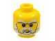 Part No: 3626cpb0450  Name: Minifigure, Head Beard White, Sideburns, Moustache, Eyebrows and White Pupils Pattern - Hollow Stud
