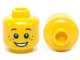 Part No: 3626cpb0471  Name: Minifigure, Head Brown Eyebrows and Freckles, Open Smile, White Pupils Pattern - Hollow Stud