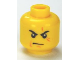 Part No: 3626cpb0526  Name: Minifigure, Head Male Stern Black Eyebrows, White Pupils, Frown, Scar Across Left Eye, Chin Dimple Pattern - Hollow Stud
