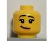 Part No: 3626cpb0540  Name: Minifigure, Head Female with Black Raised Eyebrows, Eyelashes, White Pupils, Nougat Lips, Lopsided Smile Pattern - Hollow Stud