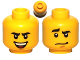 Part No: 3626cpb0586  Name: Minifigure, Head Dual Sided Black Curved Eyebrows, Brown Chin Dimple, Laughing / Worried Pattern - Hollow Stud
