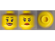 Part No: 3626cpb0594  Name: Minifigure, Head Dual Sided Female Eyelashes and Red Lips, Smile / Annoyed Pattern - Hollow Stud