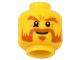 Part No: 3626cpb0652  Name: Minifigure, Head Moustache Mutton Chops, Dark Orange Sideburns, Bushy Eyebrows, Goatee, White Pupils Pattern - Hollow Stud