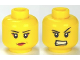 Part No: 3626cpb0681  Name: Minifigure, Head Dual Sided Female Eyelashes and Red Lips, Determined / Angry Pattern - Hollow Stud