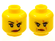 Part No: 3626cpb0736  Name: Minifigure, Head Dual Sided Female Scar over Left Eye, Raised Eyebrow / Scowl Pattern (Ann Lee) - Hollow Stud
