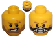 Part No: 3626cpb0870  Name: Minifigure, Head Dual Sided Light Brown Eyebrows and Beard, Scar, Open Mouth with Teeth / Breathing Apparatus Pattern - Hollow Stud