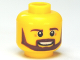 Part No: 3626cpb0884  Name: Minifigure, Head Beard Brown Angular, Pupils, Teeth Pattern - Hollow Stud