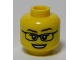 Part No: 3626cpb0981  Name: Minifigure, Head Female Glasses, White Pupils, Eyelashes, Peach Lips, Smile Pattern - Hollow Stud