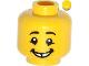 Part No: 3626cpb0984  Name: Minifigure, Head Male Black Eyebrows, Cheekbone Lines under Eyes, Gap Tooth Smile Pattern - Hollow Stud