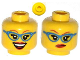 Part No: 3626cpb0993  Name: Minifigure, Head Dual Sided Female Glasses with Blue Frame, Medium Nougat Eyebrows, Red Lips, Smirk / Open Smile Pattern - Hollow Stud