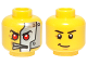 Part No: 3626cpb1036  Name: Minifigure, Head Dual Sided Alien with Red Eyes, Silver Head Plates / Black Eyebrows and Crooked Smile Pattern - Hollow Stud