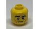 Part No: 3626cpb1049  Name: Minifigure, Head Black Eyebrows, White Pupils, Wrinkles, Cheek Lines, Frown Pattern - Hollow Stud