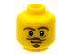 Part No: 3626cpb1051  Name: Minifigure, Head Brown Eyebrows, Goatee and Moustache, White Pupils Pattern - Hollow Stud