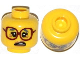 Part No: 3626cpb1059  Name: Minifigure, Head Female Glasses Dark Red, Gray Eyebrows, Crow's Feet, Side Open Mouth Pattern - Hollow Stud