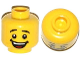 Part No: 3626cpb1064  Name: Minifigure, Head Male Black Eyebrows, Open Mouth Smile with Dimples, White Teeth and Red Tongue Pattern - Hollow Stud
