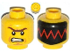 Part No: 3626cpb1068  Name: Minifigure, Head Dual Sided Male with Unibrow, Cheek Lines, Angry / Red Zigzag Line on Black Background Pattern - Hollow Stud