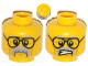 Part No: 3626cpb1070  Name: Minifigure, Head Dual Sided Black Glasses, Gray Moustache and Eyebrows, Cheek Lines, Mouth Closed / Clenched Teeth Pattern - Hollow Stud