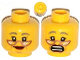 Part No: 3626cpb1071  Name: Minifigure, Head Dual Sided Female Copper Glasses, Gray Eyebrows, Red Lips, Cheek Lines, Smile / Scared Pattern - Hollow Stud