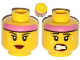Part No: 3626cpb1075  Name: Minifigure, Head Dual Sided Female Pink Headband, Sweat Beads, Red Lips, Mouth Closed / Clenched Teeth Pattern - Hollow Stud
