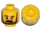 Part No: 3626cpb1082  Name: Minifigure, Head Beard Brown, Bushy Eyebrows, Lines under Eyes, Open Mouth Pattern - Hollow Stud