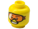 Part No: 3626cpb1115  Name: Minifigure, Head Glasses with Orange Goggles and Open Smile Pattern - Hollow Stud